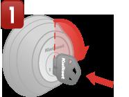 bước 1:cắm chìa đang hoạt động vào lỗ khoá,xoay theo kim đồng hồ ¼ vòng